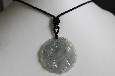 Natural JADE Certified (Grade A) Icy Translucent Jadeite Carved Dragon Pendant 2