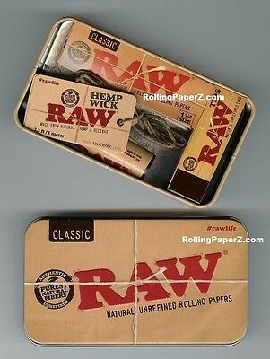 RAW Classic 1 1/4 Rolling Papers with Lighter, Hemp Wick, Tips and STORAGE TIN 2