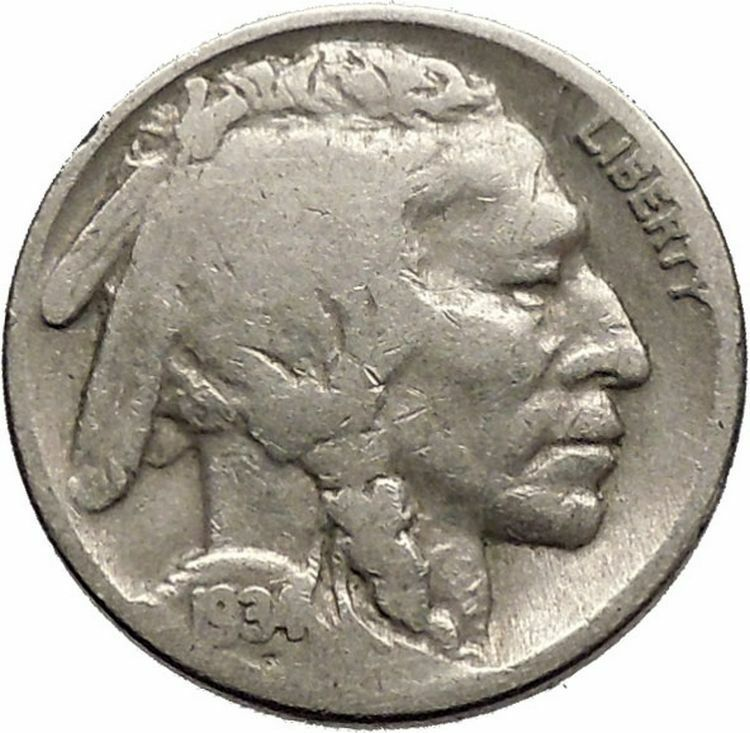 1934 BUFFALO NICKEL 5 Cents of United States of America USA Antique Coin i43766 2