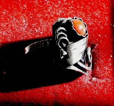 Hübscher Antiker handgearbeiteter 835er Silber Ring mit Koralle (j4) 3