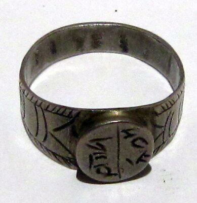 Fantastic Post Medieval Silver Ring With Engraving On The Top # 699 7