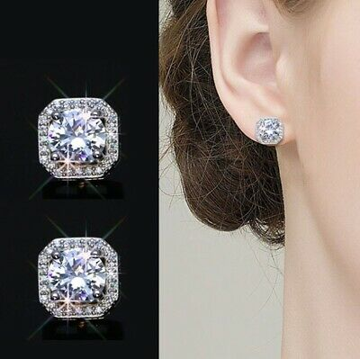 Crystal Square Stone Stud Earrings 925 Sterling Silver Womens Jewellery Gift New 4