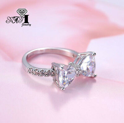 Fashion 925 silver Filled White Sapphire Birthstone Wedding Princesses Band Ring 4