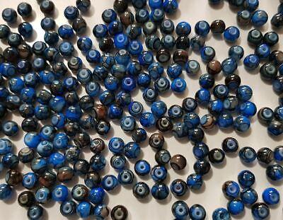 15 perles semi-précieuses gemmes AGATES DRAGON BLEU NUIT ET MARRON 6mm //5 4
