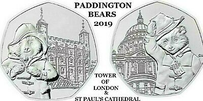 New 2019 Paddington Bear At St Paul's Cathedral & The Tower Of London 50P Coin's 2