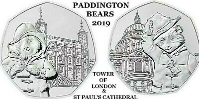 New 2019 Paddington Bear At The Cathedral . Tower . Station . Palace  50P Coin's 2