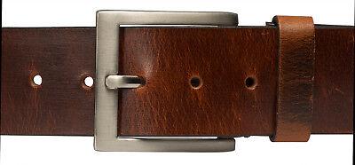 5cm Breit Echt LEDER Gürtel Herren Damen Büffelleder Braun ca 4mm Dick A2
