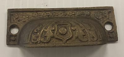 12 matching DRAWER PULLS EMBOSSED SOLID BRASS  ORNATE VICTORIAN STYLE 3