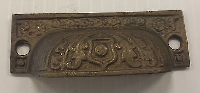 12 matching DRAWER PULLS EMBOSSED SOLID BRASS  ORNATE VICTORIAN STYLE