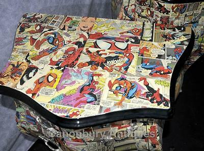 Pair Funky Comic Print Chests of Drawers Deco Commode Bombe 10