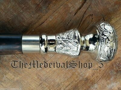 Vintage Antique Walking Cane Wooden Walking Stick Silver Brass Handle Knob Gift 6