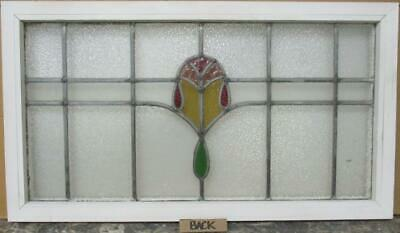 "OLD ENGLISH LEADED STAINED GLASS WINDOW TRANSOM Nice Geometric Band 34.25"" x 19"" 3"