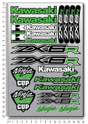 Zx 6r Ninja Motorrad Aufkleber Blatt Stickers Kawa Helme Zx6r Grun Laminiert