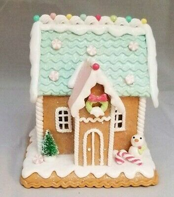 """Gingerbread House Green Brown Candy Snowman LED Light Up Clay-dough 6"""" Gerson 5"""