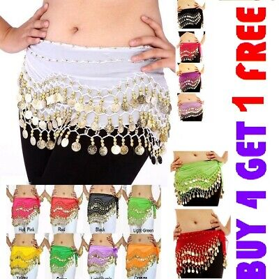Belly dance costume belt skirt hip wrap outfit gold coins beads scarf hen night