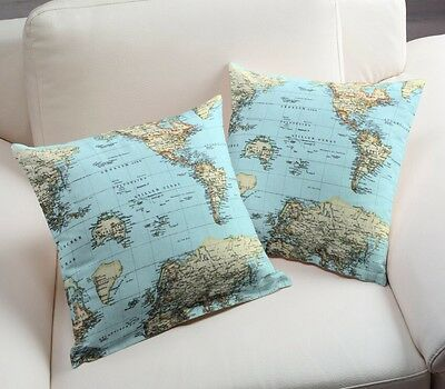 World map globe curtain upholstery dress cotton fabric material 4 of 9 world map globe curtain upholstery dress cotton fabric material 140cm wide blue gumiabroncs Images