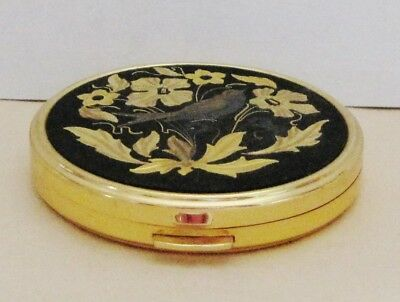 Vintage Russian Metal Powder Box With Mirror Etched Flowers & Bird Gold Tone 8