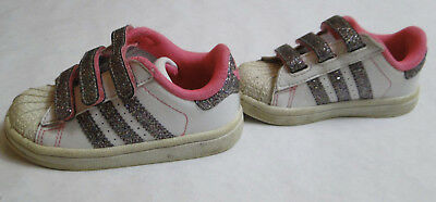 cf39b3b5281d ... Adidas Toddler Girls Shoes White   Pink with Sparkles Glitter Size ...