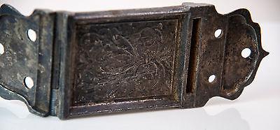 Vintage nickel? ornate 1800's one swing hinge plate 2