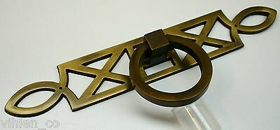 """Brass Pull for Furniture Dresser CHEST OF DRAWERS Geometric Pattern 8.125"""" wide 2"""