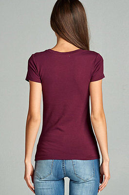 9cfad2bdcfb9 ... Women Basic Short Sleeve Stretch Scoop Neck Plain Top Solid Color T  Shirt T9663 3
