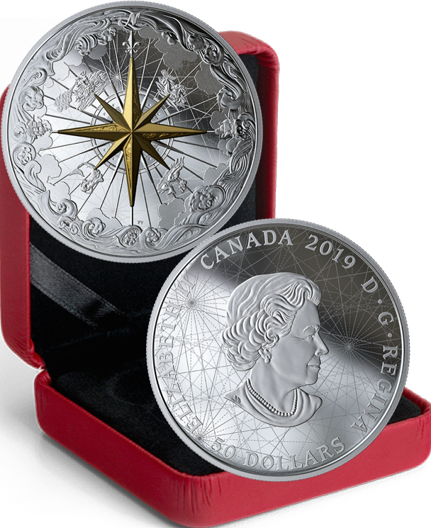 2019 Rose of the Winds $50 5OZ Pure Silver Proof 65mm Coin Canada, Fleur-de-lis 3