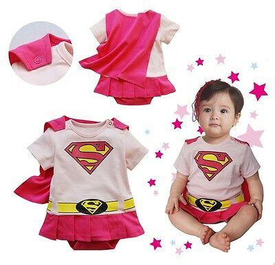 Baby Boy Girl Superhero Costume Halloween Outfit Romper Superman 00,0,1,2