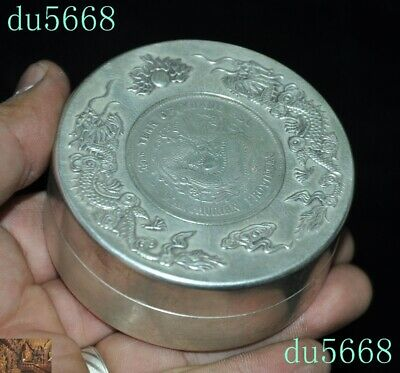 Chinese dynasty Tibetan silver double Dragon Loong coin small Storage Box Boxes 6