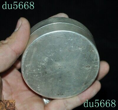Chinese dynasty Tibetan silver double Dragon Loong coin small Storage Box Boxes 9