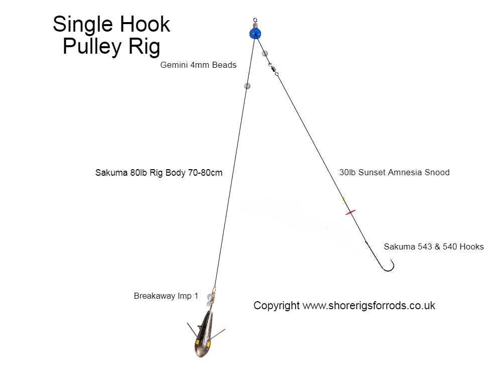 circle hook 4 X Sea fishing Pennell pulley cod rig/'s made in No 2//0 .
