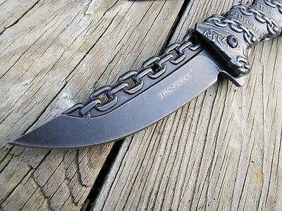 """8.25"""" TAC FORCE CHAIN SPRING ASSISTED Open Folding Pocket Knife Combat Tactical 8"""