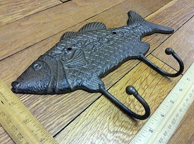 Large 10-3/4 FISH COAT HOOK Cast Iron Rustic Antique Vintage Style Wall Hat Rack 5