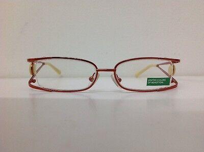 Benetton Occhiale Da Vista Metallo Mod 025 Largo Cm11,2 Asta Doppia Arancione 3