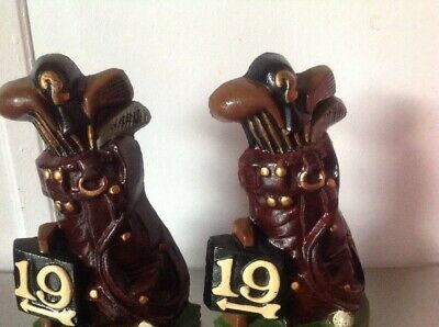 Vintage Metal Cast Iron 19th Hole Golf Bag Clubs Balls Bookend Door Stopper 4