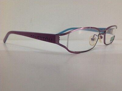Occhiale da vista Benetton Mod 024 largo 11cm metallo celeste plastica rosa 10