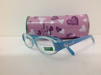 Occhiale da vista Benetton Mod 015 largo 11,5 cm Bianco Strass bambina Celeste 2