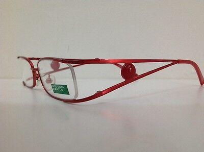 Benetton Occhiale Da Vista Metallo Mod Asta036 Largo Cm11,1 Asta Doppia Rosso 6