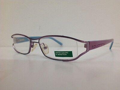Occhiale da vista Benetton Mod 024 largo 11cm metallo celeste plastica rosa 4