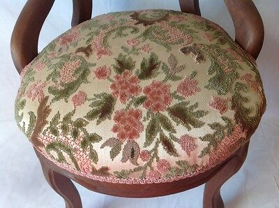 Antique Victorian Carved Balloon Back Chair Walnut w Chenille Upholstered Seat 4