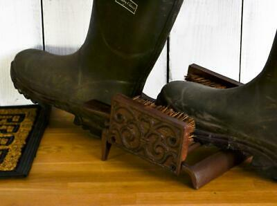 Rustic Cast Iron Wellies Boot Jack Pull Grate Scraper & Double Cleaning Brush 4