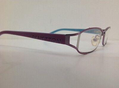 Occhiale da vista Benetton Mod 024 largo 11cm metallo celeste plastica rosa 8