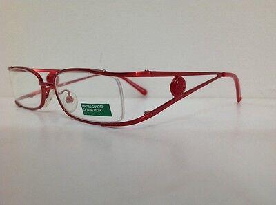 Benetton Occhiale Da Vista Metallo Mod Asta036 Largo Cm11,1 Asta Doppia Rosso 12
