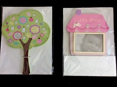 Living Textiles 2 Pce Baby Doll Wall Plaque & Photo Frame. Brand New.
