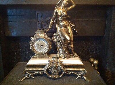 Antique French Ormolu Empire Goddess Bronze Marble Barrel Mantel Clock 2