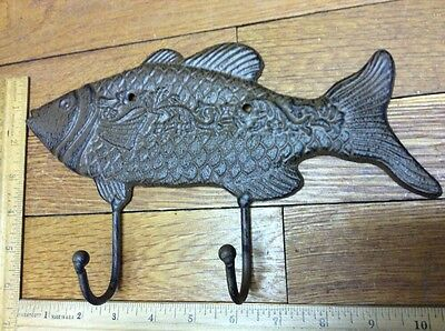 Large 10-3/4 FISH COAT HOOK Cast Iron Rustic Antique Vintage Style Wall Hat Rack 2