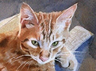 Giclee Print Tabby Cat Painting Art Portrait Custom Gift Marmalade Orange