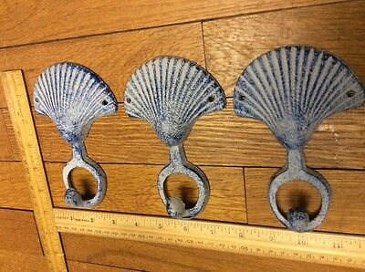 set of 3 SHELL COAT HOOKS 5-5/8 Cast Iron Rustic Antique Style Wall Hat Rack