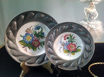 Antique Bassano Pewter And Ceramic Plate Made In Italy Hand Made Signed