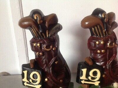 Vintage Metal Cast Iron 19th Hole Golf Bag Clubs Balls Bookend Door Stopper 5