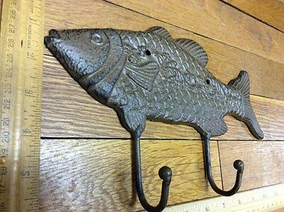 Large 10-3/4 FISH COAT HOOK Cast Iron Rustic Antique Vintage Style Wall Hat Rack 6